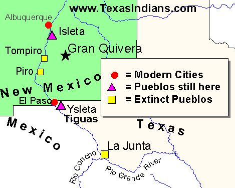 Pueblos New Mexico Map.The Tigua Indians Of Texas