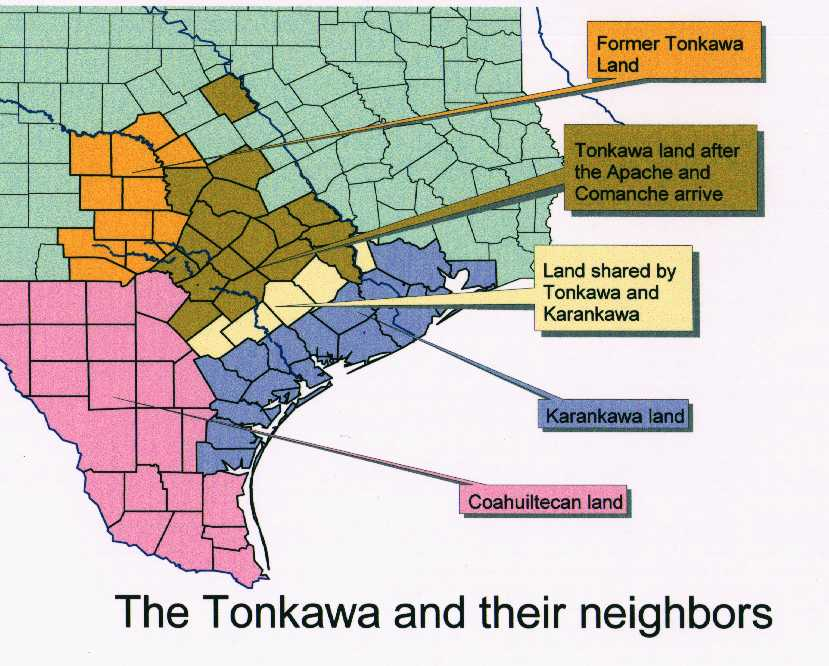 Texas Coahuiltecan Indians - Map of southern texas